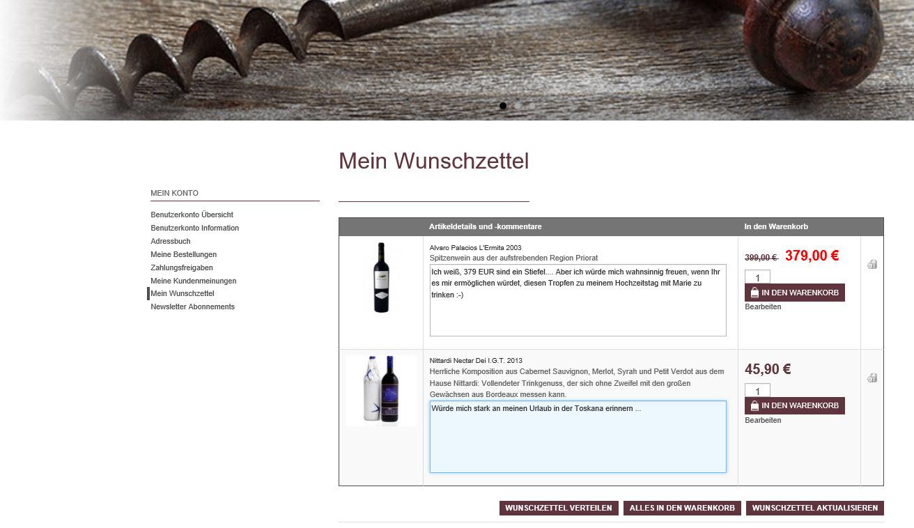 Wunschliste im euro-Sales Vino Webshop