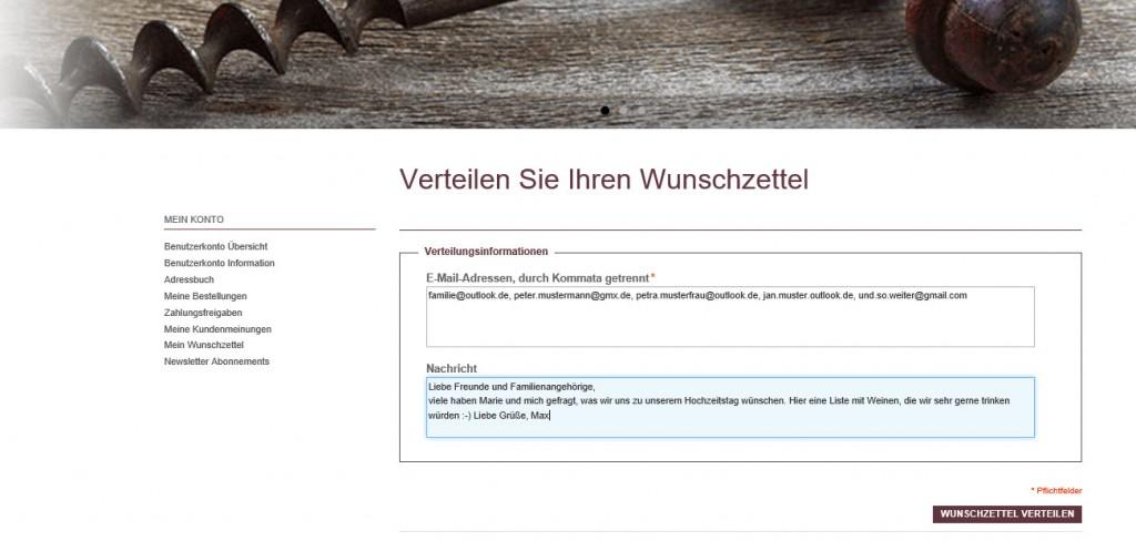 Vino Webshop Verteilung Wunschzettel