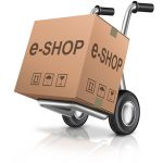 13277741 - web e-shop icon online internet shopping cart concept cardboard box with text on a hand truck e-commerce