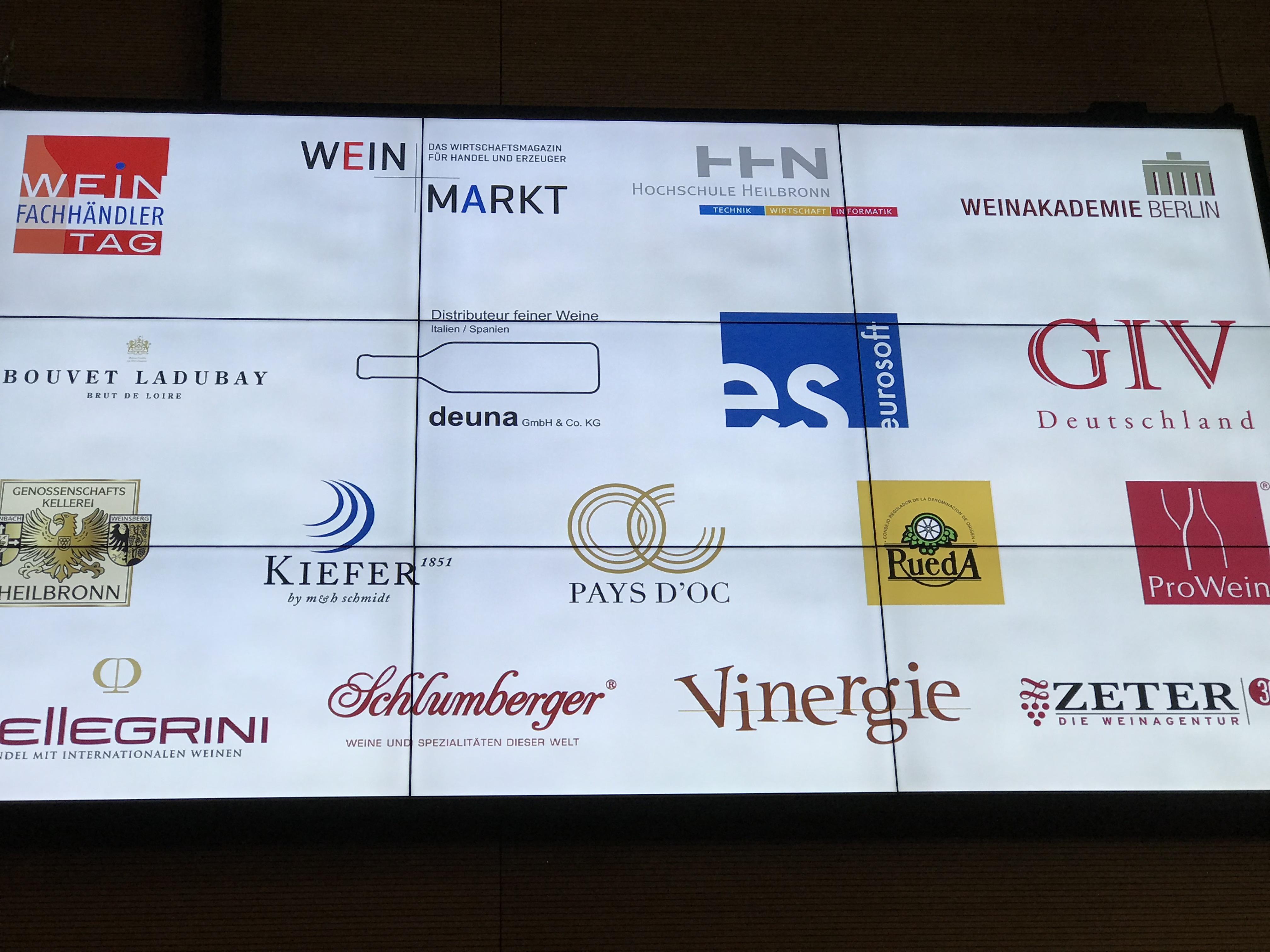 Logos verschiedener Unternehmen die an dem Weinfachhaendlertag 2018 teilgenommen haben