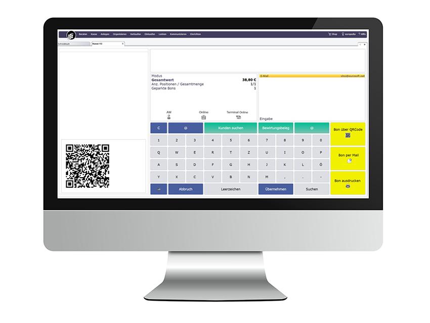 Computerbildschirm mit euro-Sales Vino Kasse und QR-Code Bon