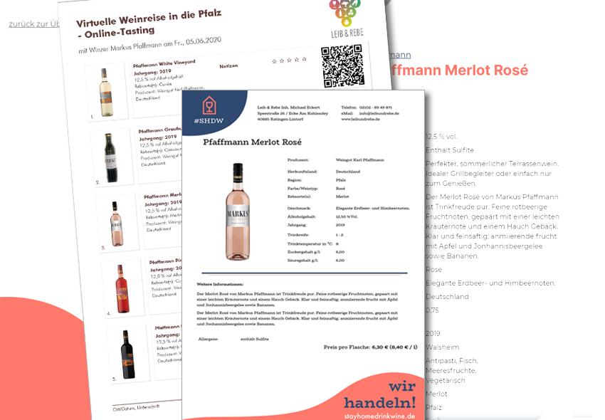 Verkostungsbogen und Weinstekbrief aus euro-Sales Vino