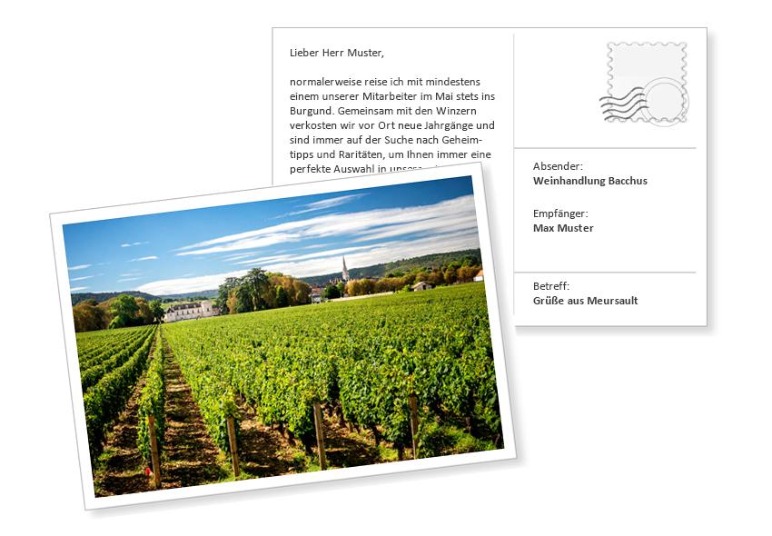 Digitale Postkarte_Muster als Anregung für Onlinemarketing im Weinhandel