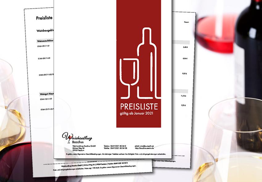 Preislisten im Wein-Großhandel